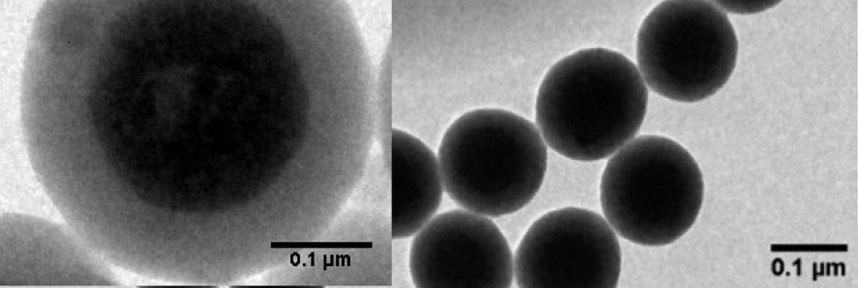 Transmission electron microscopy image of QD nanoclusters encapsulated in a silica shell and a silane-zwitterionic copolymer for ultrasensitive biodetection. (Dembele et al, ACS Appl Mater Inter, 2017)